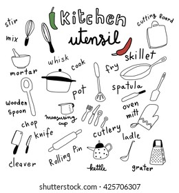 vector illustration - collection of kitchen utensils in doodle style such as cutlery, skillet, spatula, whisk, grater, knife, cleaver, pot, ladle and etc. Words regarding cooking utensils are included