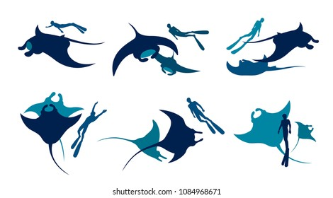 Vector illustration with collection of mantas and freediver. Silhouette of freedivers and mantas on a white background.