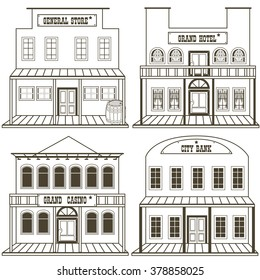 Vector illustration collection of an old west buildings: general store, hotel, grand casino and a city bank, outlined.