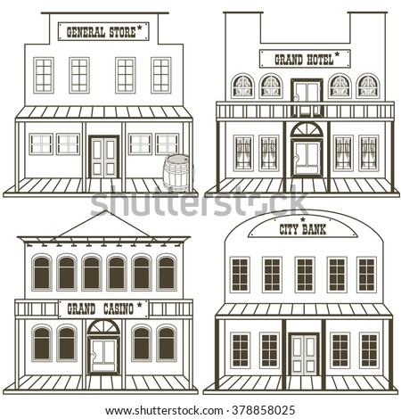 vector illustration collection old west buildings stock vector