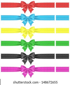 Vector illustration - collection of polka dot bows with ribbons. Created with gradient mesh and blending modes.