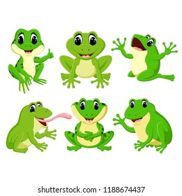 vector illustration of the collection of the pretty green frogs in the different posing