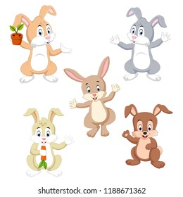 vector illustration of the collection of the rabbits in the different color and possing