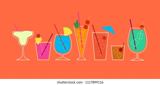Vector illustration of a collection of retro cocktails