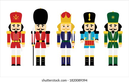 Vector illustration collection set christmas nutcracker toy soldier traditional figurine isolated on white background