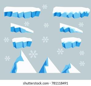 Vector illustration collection set of ice block platfom