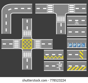 Vector illustration collection set of road white marking