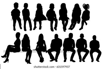 Vector, illustration, a collection of silhouettes of people sitting, men, girls, children