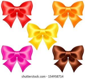 Vector illustration - collection of silk bows in warm colors. Created with gradient mesh.