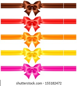 Vector illustration - collection of silk bows in warm colors with ribbons. Created with gradient mesh.