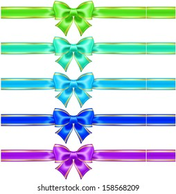 Vector illustration - collection of silk bows in cool colors with golden edging and ribbons.  Created with gradient mesh.