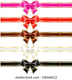 Vector illustration - collection of silk bows in warm colors with golden edging and ribbons.  Created with gradient mesh.