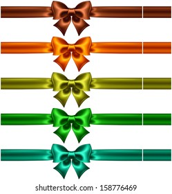 Vector illustration - collection of silk bows in dark colors with ribbons. Created with gradient mesh.