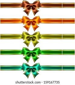 Vector illustration - collection of silk bows in dark colors with ribbons and golden edging.  Created with gradient mesh.