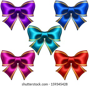 Vector illustration - collection of silk bows in dark colors with golden edging.  Created with gradient mesh.