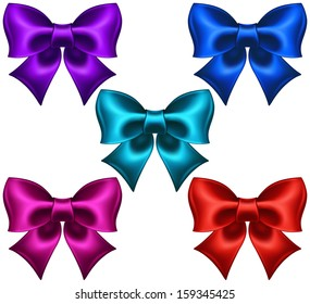 Vector illustration - collection of silk colored bows. Created with gradient mesh.