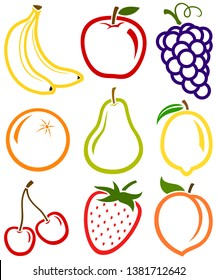 Vector illustration of a collection of simple fruit icons. Included are bananas, an apple, grapes, an orange, a pear, a lemon, cherries, a strawberry and a peach.