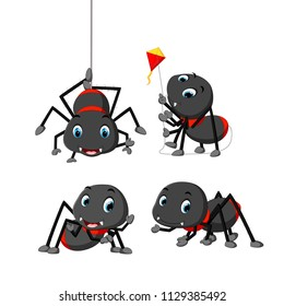 vector illustration of collection of spider cartoon