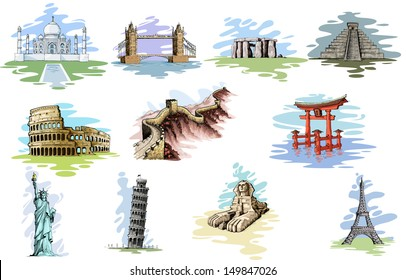 vector illustration of collection of World Famous Monument