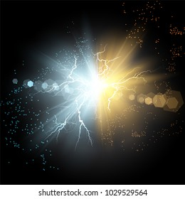 Vector illustration. Collision of two forces of blue and gold magical plasma. Allocation of cold and hot energy. Electric collapse. Flash of two ball lightning isolated on a transparent background.