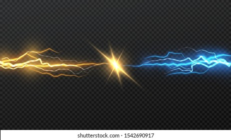 Vector illustration. Collision of two forces of blue and gold lightnings. Electric collapse. Flash of two lightning isolated on a transparent background.