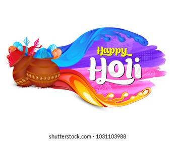 Vector illustration of coloful holi Indian festival with dhulhandi splashes