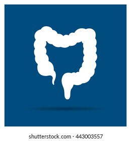 Vector Illustration of a Colon Icon on a Blue Background