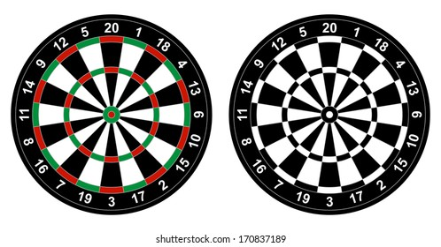 Vector illustration of color and black and white dartboard for darts game isolated on white background