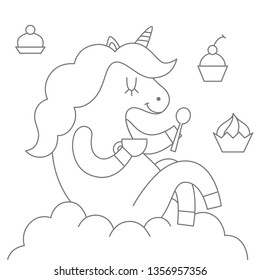 Vector illustration: color book with cute unicorn with cup of tea in hands, cupcakes and sits on cluds isolated on white background. Design for posters and greeting cards, childish print for stickers,