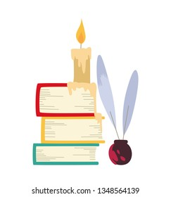 Vector illustration of color books, candle and writing feathers pen.