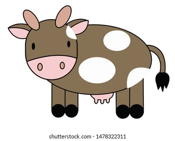 Vector illustration with color cartoon cute cow in isolate on white background.