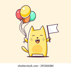 Vector illustration of color character cat with flag and balloons on yellow background. Hand draw line art design for web, site, advertising, banner, poster, board, print and card.