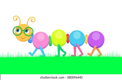 Vector illustration of color cheerful caterpillar going for a walk