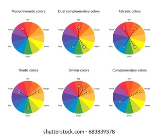 vector illustration of color circle, complementary, analogous, similar, triadic, tetradic, dual complementary, split complementary, monochromatic