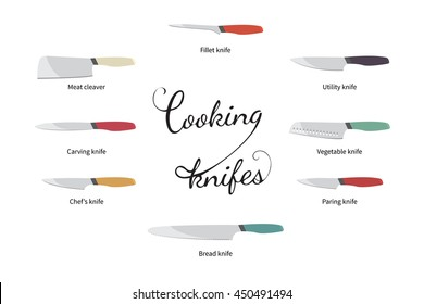 vector illustration of color cooking knifes set on white background