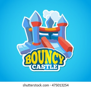 Vector illustration of color emblem with bouncy castle for games on inflatable playground. Advertise label with place for your text. Picture isolate on blue background