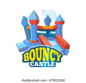 Vector illustration of color emblem with bouncy castle for games on inflatable playground. Advertise label with place for your text. Picture isolate on white background