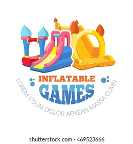 Vector illustration of color emblem with two inflatable slides on playground. Advertise label with place for your text. Picture isolate on white background