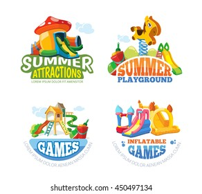 Vector illustration of color emblems with toys for summer games on inflatable playground. Advertise labels with place for your text. Pictures isolate on white background