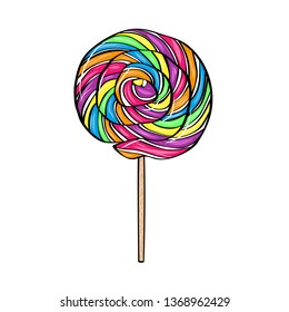 Vector illustration color glossy lolipop on stick in comic style. Isoleted on white background.