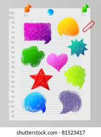 Vector illustration of Color hand drawn speech bubbles