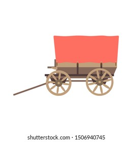 Vector illustration color icon with simplified prairie schooner waggon. Wild west cowboy authentic symbol. Background american folkloric decoration ethnic vintage object. Wooden farmers cart, caravan.