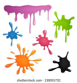 Vector Illustration of Color Paint Splashes