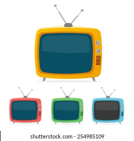 Vector illustration color retro tv set isolated on white background. Flat Design
