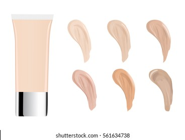Vector Illustration of Color Shades Palette For Foundation.Make up cosmetic products for banner, poster. Liquid foundation background with cream tube. Vector illustration