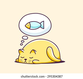 Vector illustration of color sleeping character cat on yellow background. Hand draw line art design for web, site, advertising, banner, poster, board, print and card.