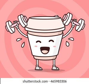 Vector illustration of color smile take away coffee cup lifts dumbbells on red background. Fitness cartoon concept. Doodle style. Thin line art flat design of character coffee cup for sport, energy
