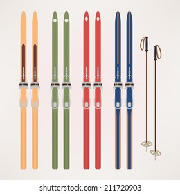 Vector illustration with color variations: cross country old fashioned skis with classic cable bindings and ski poles | Touring skiing equipment: differently colored retro touring skis and poles