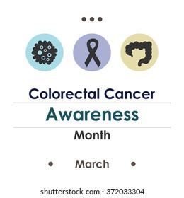 vector illustration / colorectal cancer awareness month