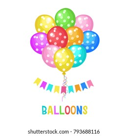 Vector illustration with colored balloons. Different colors and shapes. Vector clipart. Isolated on a white background.